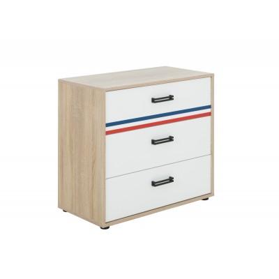Kylian Συρταριέρα με 3 συρτάρια 81x41x73εκ. Λευκό / Sonoma with Stripes