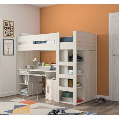 Montana πολυμορφικό υπερυψωμένο κρεβάτι με σκάλα, γραφείο,βιβλιοθήκη & ντουλάπα 205x98x171εκ. Whitewashed Oak