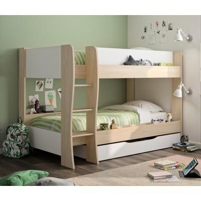 Roomy Κουκέτα παιδική με 2 μονά κρεβάτια, αποθηκευτικό συρτάρι & σκάλα , 209X130X145εκ. Ανοιχτό Δρυς/Λευκό