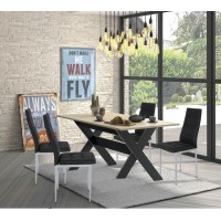 Medoc Σετ τραπέζι 160x90εκ. με 4 καρέκλες μεταλικές XS17 Μαύρο ύφασμα