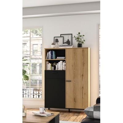 Trust Ντουλάπι αποθήκευσης 102x36x150εκ. με ένα συρτάρι και δύο πόρτες  Helvezia Oak / Black
