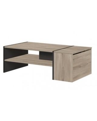 YORI τραπεζάκι σαλονιού 107x60εκ. Light Kronberg Oak/Black με αποθηκευτικό χώρο