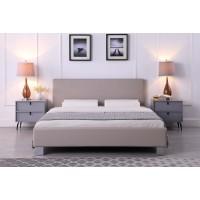 Daniel Ντυμένο διπλό κρεβάτι 158x214εκ. ( για στρώμα 150x200εκ. ) Γκρι Ανοιχτό Pu