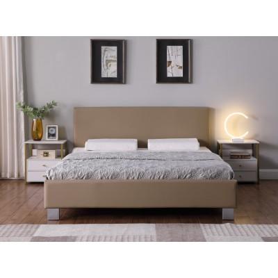 Daniel Ντυμένο διπλό κρεβάτι 158x214εκ. ( για στρώμα 150x200εκ. ) Μπεζ Pu