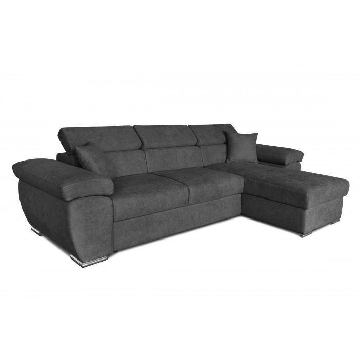 Γωνιακοι καναπεδες κρεβατι - Como Γωνιακός καναπές κρεβάτι 286x160εκ. με αναστρέψιμη γωνία Γκρι