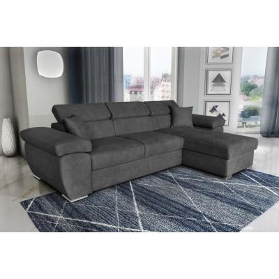 Como Γωνιακός καναπές κρεβάτι 286x160εκ. με αναστρέψιμη γωνία Γκρι Σκούρο