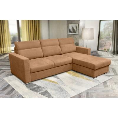 Kendall Γωνιακός καναπές κρεβάτι με αποθηκευτικό χώρο 242x177εκ. Μπεζ Σκούρο