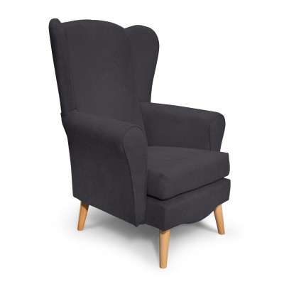 Classic Πολυθρόνα καθιστικού 80x75x114εκ. Γκρι Σκούρο