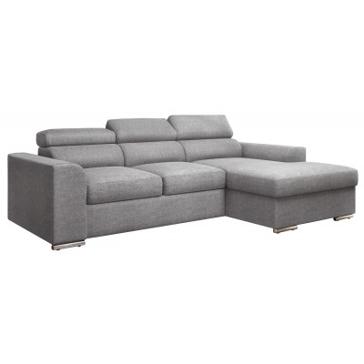 Bari Γωνιακός καναπές κρεβάτι με αποθηκευτικό χώρο 245x173εκ.  Γκρι Ανοιχτό Δεξιά Γωνία