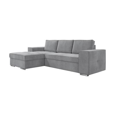 Corfu Γωνιακός καναπές κρεβάτι με αποθηκευτικό χώρο 271x163εκ. Γκρι Ανοιχτό Αριστερή Γωνία