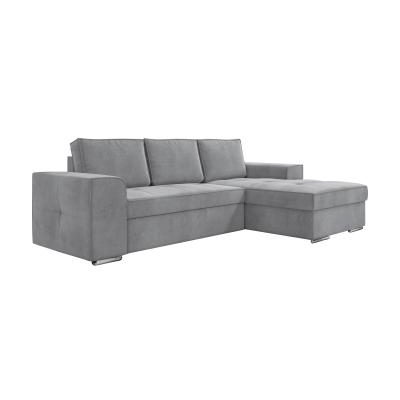 Corfu Γωνιακός καναπές κρεβάτι με αποθηκευτικό χώρο 271x163εκ.  Γκρι  Ανοιχτό Δεξιά γωνία