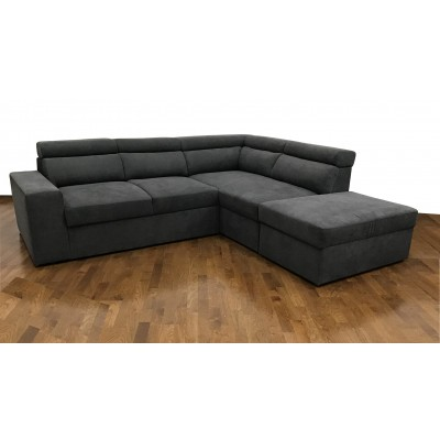 Cortina Γωνιακός καναπές κρεβάτι με αποθηκευτικό χώρο 270x230εκ. Γκρι Σκούρο Δεξιά Γωνία