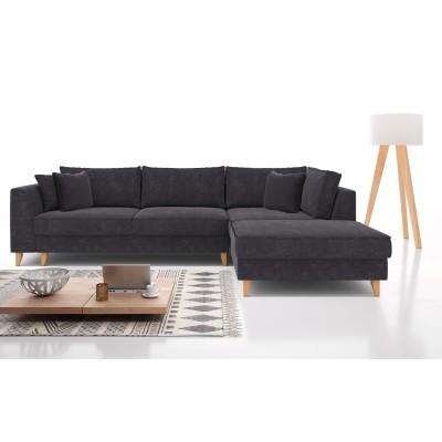 Julie Γωνιακός καναπές κρεβάτι με αποθηκευτικό χώρο 300x195x89εκ. Γκρι ύφασμα Δεξιά γωνία