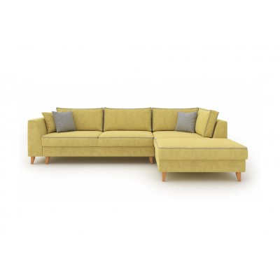 Julie Γωνιακός καναπές κρεβάτι με αποθηκευτικό χώρο 300x195x89εκ. Ώχρα ύφασμα Δεξιά γωνία