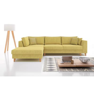 Julie Γωνιακός καναπές κρεβάτι με αποθηκευτικό χώρο 300x195x89εκ. Ώχρα ύφασμα Αριστερή γωνία