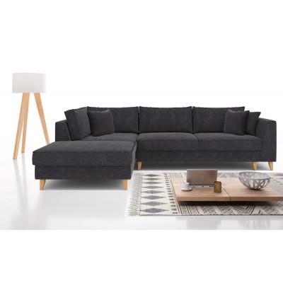 Julie Γωνιακός καναπές κρεβάτι με αποθηκευτικό χώρο 300x195x89εκ. Γκρι ύφασμα Αριστερή γωνία