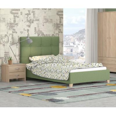 Κρεβάτι ημίδιπλο POL64 Πράσινο - Λάττε 110x200εκ.