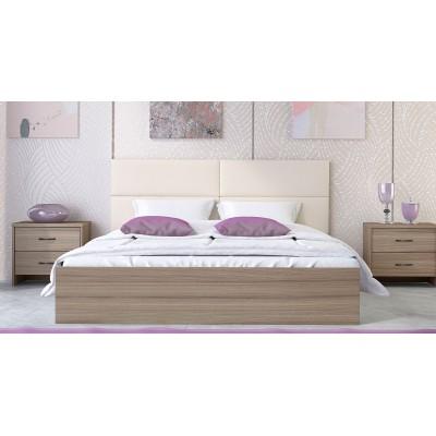 Κρεβάτι ξύλινο διπλό POL06 150χ200εκ. Μόκα