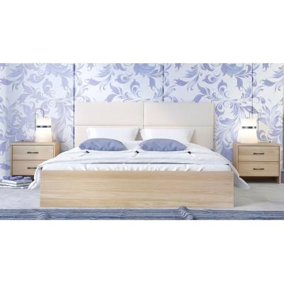 Κρεβάτι ξύλινο διπλό POL06 150χ200εκ. Latte