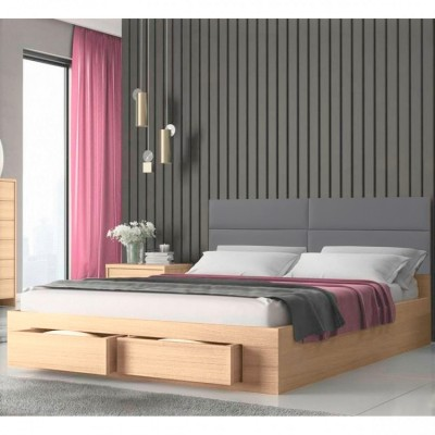 Marcel Κρεβάτι διπλό με 2 συρτάρια 160x207εκ. ( για στρώμα 150x200εκ. )  Λάττε-Γκρι Pu
