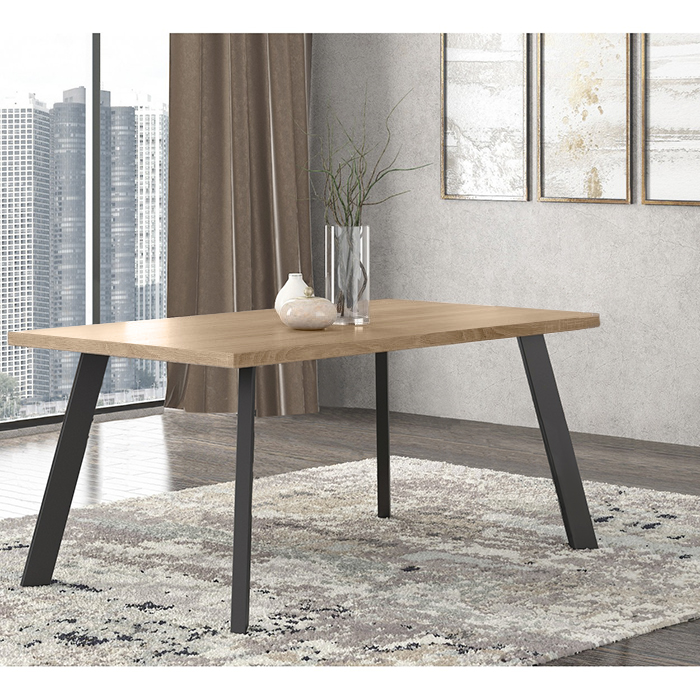 Pol05 Τραπέζι 160x90x78εκ. Λάττε - Μαύρο
