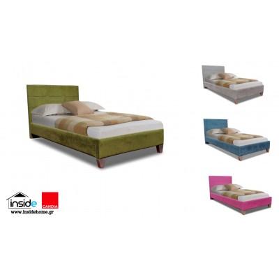 Remy Ντυμένο μονό κρεβάτι & στρώμα 90x200εκ. Candia