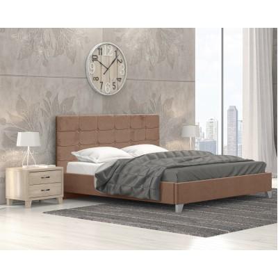 Remy Ντυμένο Κρεβάτι Διπλό 150x215εκ. Ύφασμα Μπεζ (για στρώμα 140x200εκ.)