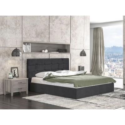 Alina Ντυμένο διπλό κρεβάτι 160x215εκ. ( για στρώμα 150x200εκ. ) με αποθηκευτικό χώρο Γκρι σκούρο
