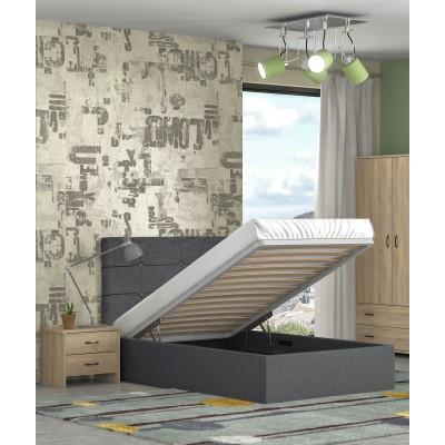 Alina ημίδπλο κρεβάτι με αποθηκευτικό χώρο 120x215εκ. Γκρι σκούρο (για στρώμα 110x200εκ. )