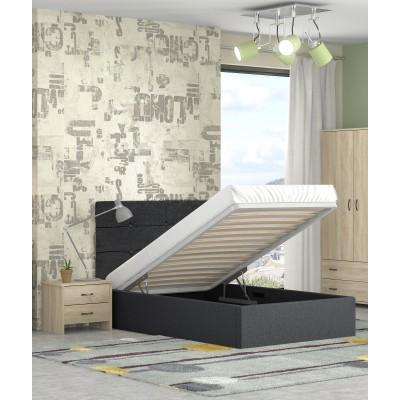 Alina ημίδπλο κρεβάτι με αποθηκευτικό χώρο 120x215εκ. Μαύρο (για στρώμα 110x200εκ. )