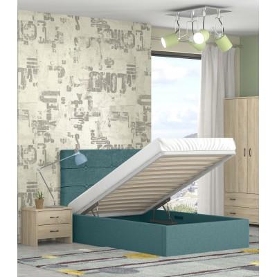 Alina ημίδπλο κρεβάτι με αποθηκευτικό χώρο 120x215εκ. Πετρολ (για στρώμα 110x200εκ. )