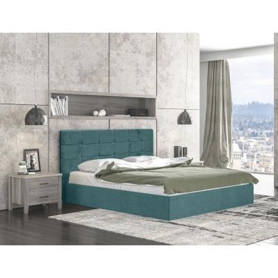 Alina Ντυμένο διπλό κρεβάτι 170x215εκ. ( για στρώμα 160x200εκ. ) με αποθηκευτικό χώρο Πετρόλ