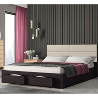 Marcel Κρεβάτι διπλό με 2 συρτάρια 160x207εκ. ( για στρώμα 150x200εκ. )  Βέγγε-Μπεζ Pu