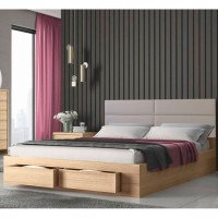 Marcel Κρεβάτι διπλό με 2 συρτάρια 170x207εκ. ( για στρώμα 160x200εκ. )  Λάττε-Γκρι ανοιχτό Pu