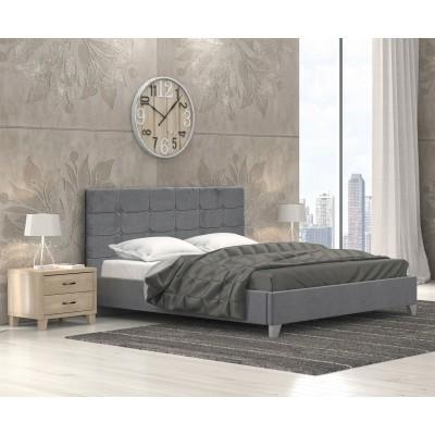 Remy Ντυμένο Κρεβάτι Διπλό 150x215εκ. Ύφασμα Γκρί Σκούρο (για στρώμα 140x200εκ.)