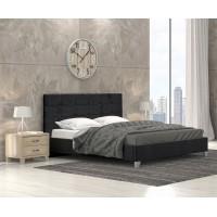 Remy Ντυμένο Κρεβάτι Διπλό 160x215εκ. Ύφασμα Μαύρο (για στρώμα 150x200εκ.)