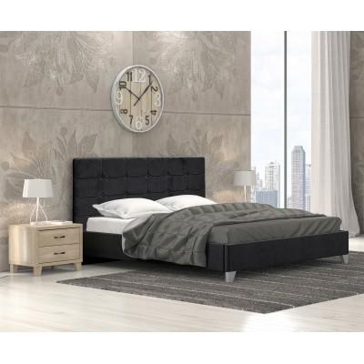 Remy Ντυμένο Κρεβάτι Διπλό 150x215εκ. Ύφασμα Μαύρο (για στρώμα 140x200εκ.)