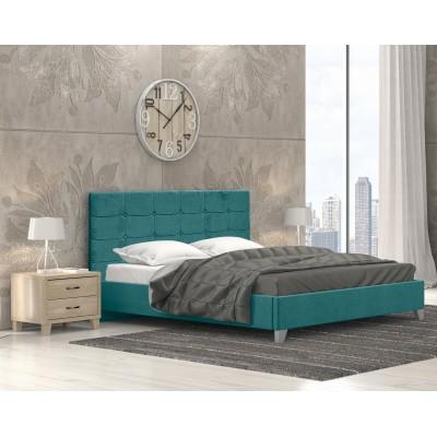 Remy Ντυμένο Κρεβάτι Διπλό 150x215εκ. Ύφασμα Πετρόλ (για στρώμα 140x200εκ.)