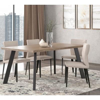 Τραπέζι 160x90x78εκ. POL05 Μόκα - Μαύρο