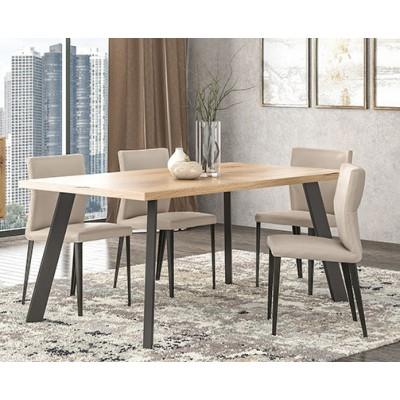 Pol05 Τραπέζι 160x90x78εκ. Μελί - Μαύρο