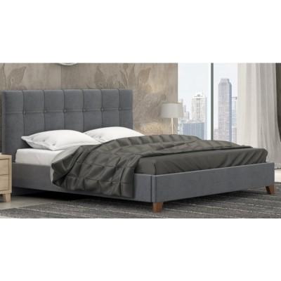 Pol62 Ντυμένο διπλό κρεβάτι επενδεδυμένο με ύφασμα Γκρι Σκούρο 172x210εκ. ( για στρώμα 160X200EK. )