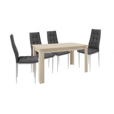 Σετ τραπέζι ξύλινο Λάττε με 4 καρέκλες μεταλλικές επενδεδυμένες με ύφασμα XS02