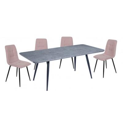 Σετ τραπέζι Rosa Cement 140(180)x80εκ. με 4 καρέκλες Amelia Dusty Pink