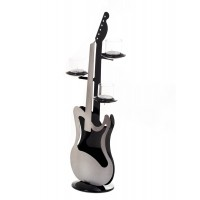 Electric Guitar κηροπήγιο Ασημί/Μαύρο Metal 19x13x50,5εκ.