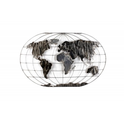 World Map Wall Decoration 120x75εκ. Metal