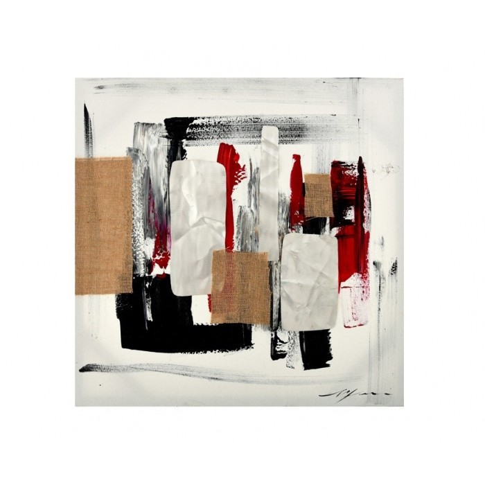 ABSTRACT PAINTING METAL AND JUTE 70x70 GALLERY , insidehome.gr
