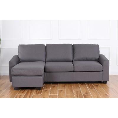 Margot Γωνιακός καναπές 220x150εκ. Γκρι σκούρο