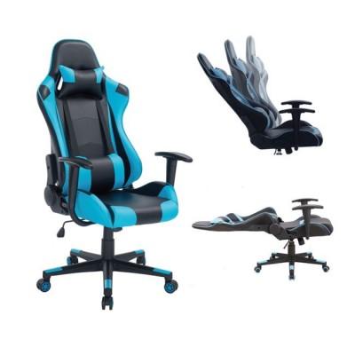 Gaming Πολυθρόνα Γραφείου Διευθυντή Pvc Μαύρο - Μπλε