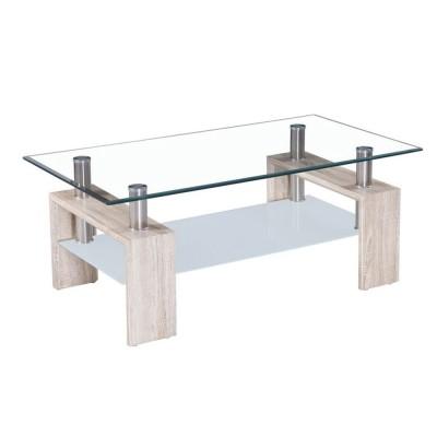 DURAN COFFEE TABLE SONOMA ΔΙΑΦΑΝΟ 110x60xΗ45cm