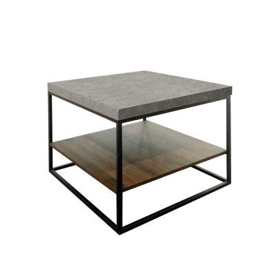 BETON COFFEE TABLE CEMENT ΑΝΟΙΧΤΟ ΚΑΡΥΔΙ ΜΑΥΡΟ 59x59xH50cm